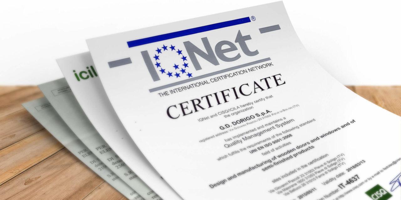 GD Dorigo - Certificazioni
