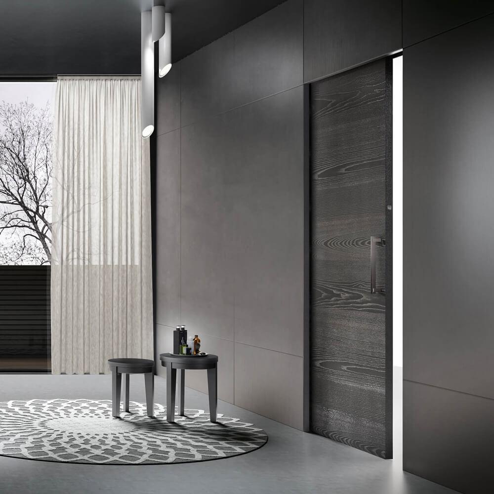 Black ash wood pocket sliding door | Art. 13 | GD Dorigo